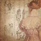 Regency Era - Jane Austen Inspired - Digital Paper Background - Roses - Pride & Prejudice. This digital paper background pairs a lovely Regency-era illustration stock illustration