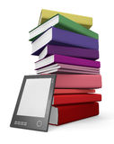 Digital and paper library. Ebook reader leaning against a stack of classic books. 3D rendered image Stock Photo