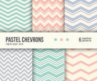 Digital Paper Pack, 6 Pastel Chevron Patterns, Minimal Geometric Striped Background Stock Photos