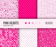 Digital paper pack, 6 abstract heart patterns , Valentine Day background. stock illustration