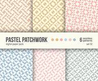 Digital paper pack, 6 abstract patterns, pastel pink crystal textures Royalty Free Stock Image