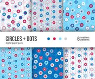 Digital paper pack, 6 abstract patterns, red blue and white geometric designs with circles and dots Royalty Free Stock Images