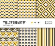 Digital paper pack, 6 abstract patterns, Simple yellow geometric patterns. Stock Image