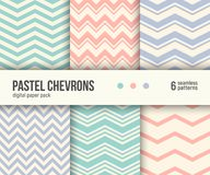 Digital paper pack, 6 pastel chevron patterns, minimal geometric striped background Stock Photos