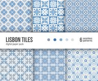 Digital paper pack, 6 Portuguese floor tiles patterns, blue and white delft tiles. Digital paper pack, set of 6 abstract seamless patterns. Abstract geometric Royalty Free Stock Photography