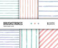 Digital paper pack, 6 abstract patterns. Hand drawn textured brushstrokes backgrounds, striped patterns. stock illustration