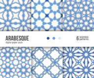 Digital paper pack, 6 arabesque floor tile patterns, dutch delft blue and white Royalty Free Stock Image