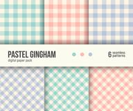 Digital paper pack, 6 traditional Gingham patterns, pastel colors. Digital paper pack, set of 6 abstract seamless patterns. Abstract geometric backgrounds Stock Photos