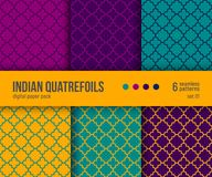 Digital paper pack, 6 traditional Quatrefoil patterns in bright colors - hot yellow, purple, teal. Digital paper pack, set of 6 abstract seamless patterns Stock Image