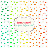 Digital Papers Rainbow Mixed Patterns Patterned Backgrounds Summer hearts, digital paper set Royalty Free Stock Image