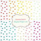 Digital Papers Rainbow Mixed Patterns Patterned Backgrounds Summer hearts, digital paper set Stock Photography