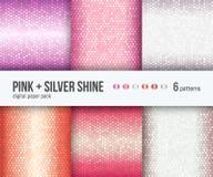 Digital pappers- packe, 6 abstrakta lyxiga metalliska bakgrunder i rosa guld och silver royaltyfri illustrationer