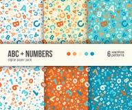 Digital pappers- packe, 6 abstrakta modeller, abc och matematikbakgrunder för ungeutbildning vektor illustrationer