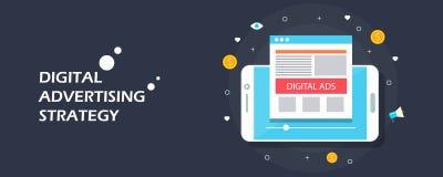 Digital parlant - la publicité mobile, annonces visuelles sur le media social, concept d'arrivée de vente Bannière plate de vecte Photographie stock libre de droits