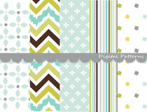 Digital patterns, scrapbook set Stock Photo