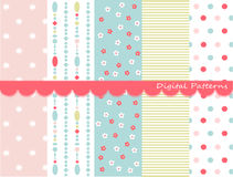Digital patterns, scrapbook set Royalty Free Stock Photos