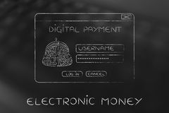 Digital payment login pop-up with electronic circuit coin purse Royalty Free Stock Photos