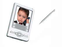 Digital PDA Camera & Stylus Over White Stock Photos