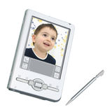 Digital PDA u. Stift über Weiß stockbild