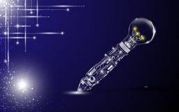 Digital pen bulb idea concept background Royalty Free Stock Photos