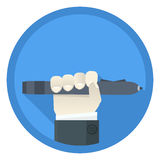 Digital pen. Flat style icon with hand holding digital pen Stock Photo