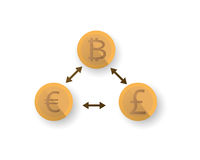 Digital pengar, bitcoin, bitmynt Royaltyfri Bild
