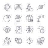 Digital pengar, bitcoinvektorlinje symboler, minsta pictogramdesign Redigerbar slagl?ngd f?r n?gon uppl?sning stock illustrationer