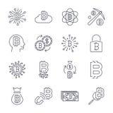 Digital pengar, bitcoinvektorlinje symboler, minsta pictogramdesign, redigerbar slagl?ngd f?r n?gon uppl?sning Redigerbar slagl?n stock illustrationer