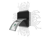 Digital pengarbegrepp Dollar räkning över mikrochipers med strömkretsen stock illustrationer