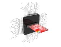 Digital pengarbegrepp Kreditkort över mikrochipers med strömkretsen fotografering för bildbyråer