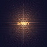 Digital perspective grid with glowing stars. Futuristic infinity illusion of depth. Abstract vector background. Royalty Free Stock Photography
