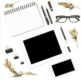 Digital phone tablet pc white background Office desk flat lay Stock Photography
