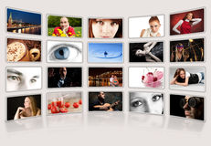 Digital photo album. On light background stock image