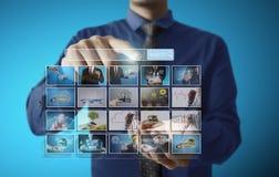 Digital photo album. Businessmen and Reaching images streaming, digital photo album Royalty Free Stock Photo