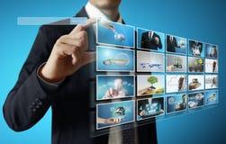 Digital photo album. Businessmen and Reaching images streaming, digital photo album Royalty Free Stock Photos