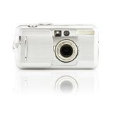 Digital Photo Camera. Compact digital photo camera on a white background with smooth shadow royalty free stock image