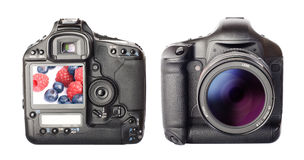 Digital photo camera. Isolated white. 2 sides stock photos