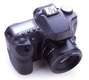 Digital photo camera with 50mm lens Stock Photography
