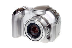 Digital photo camera. Ultra zoom silverl Digital photo camera royalty free stock image