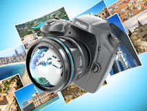 Digital photo camera on background from photographs. Stock Images