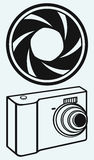 Digital photo camera and camera shutter Royalty Free Stock Photo