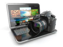 Digital photo camera and laptop. Journalist  or  traveler equipm Stock Image