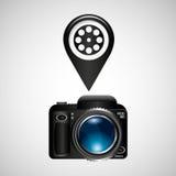 Digital photo camera reel film pin. Vector illustration eps 10 Stock Photos