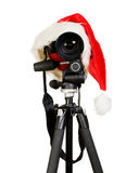 Digital photo camera in  santa  cap Stock Image