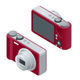 Digital photo camera. SLR camera.  The objects are isolated against the white background and shown from different sides Stock Images