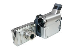 Digital photo camera and video camcorder Stock Images