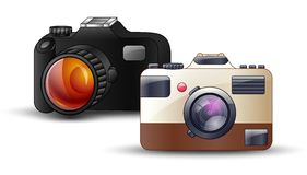 Digital photo camera on white background Royalty Free Stock Photos