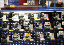 Digital photo cameras shop. Digital photo cameras are displayed for sale in shop stock image