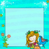 Digital photo invite card. A beautiul design of a digital invite with underwater fairy fish on the aqwa background Royalty Free Stock Photography
