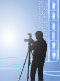 Digital photographer. The digital photographer photographs with flash. A film with negative images.Vector illustration Royalty Free Stock Photography